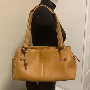 FOSSIL Tan Leather Multi Compartment Shoulder Bag